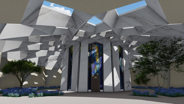 Front entrance of the future Shrine of 'Abdu'l-Baha
