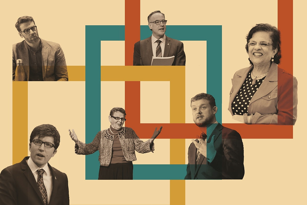 6 people are shown talking against a cream background with various squares around them