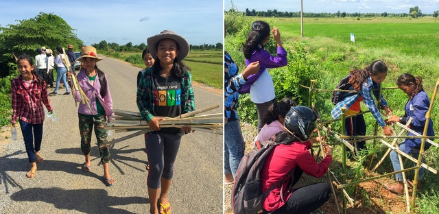 two photos of smiling young adolescents helping out to plant trees