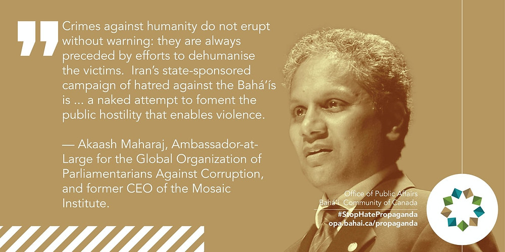 an image is shown of Akaash Maharaj next to a quote about crimes against humanity being committed by Iran. It is pictured against a yellow background