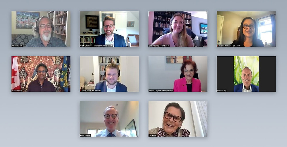 10 people are shown smiling on a zoom call together