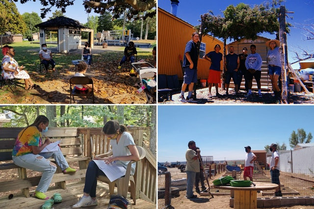 four images are shown of people getting together and doing various activities together are shown