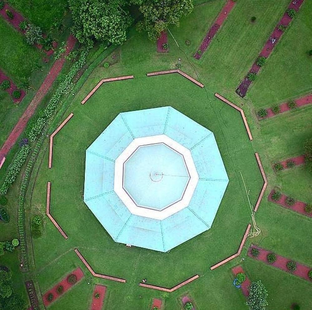 Drone photograph Baha'i House of Worship Kampala