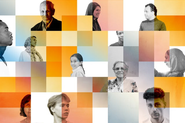 12 diverse people in their own box, surrounded by orange squares and some blue and gray ones.