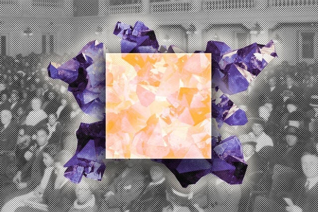 a yellow square is surrounded by purple irregular shapes, in front of an image of an old image of a large conference