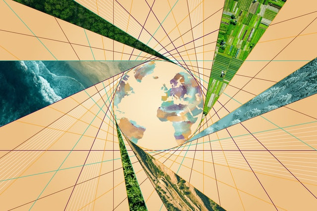 an image of the globe is shown with different photos of nature in triangles around it