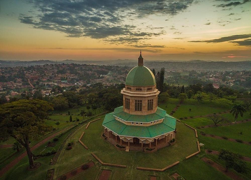 Drone sunset Baha'i House of Worship Uganda