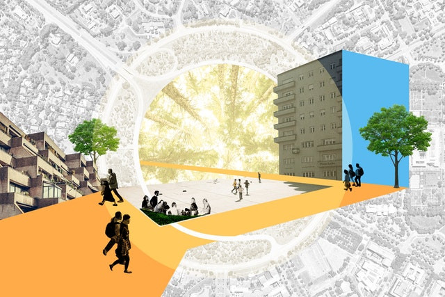 a collage is shown of modern buildings around various groups or couples of people walking, the collage's background is a satellite view of the city center