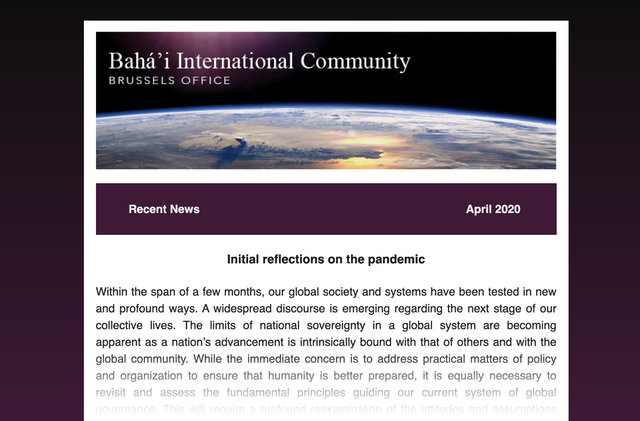 Brussels Office of Bah'i International Community Newsletter
