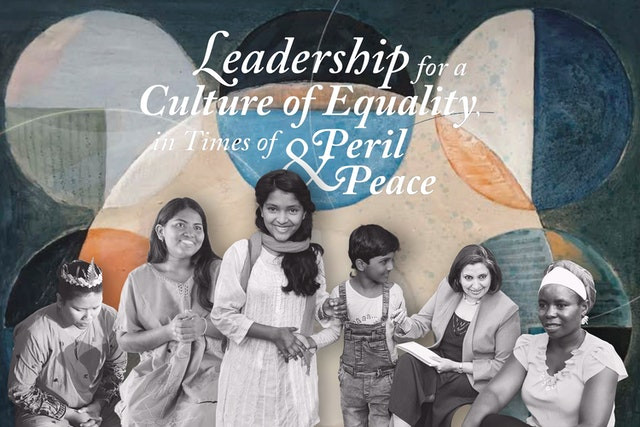 """multiple women of all ages are shown in front of the text """"leadership for a culture of equality in times of peril & peace"""""""