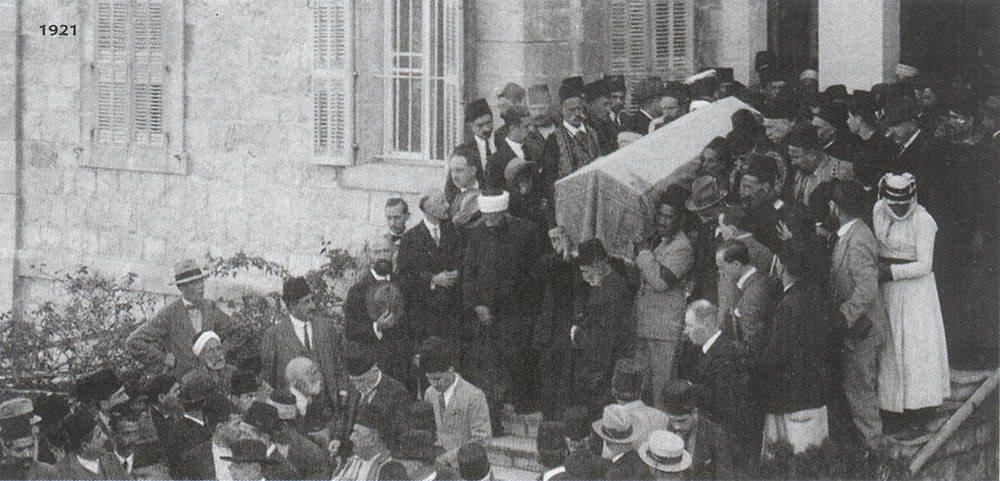 The casket being carried from the House of the Master.
