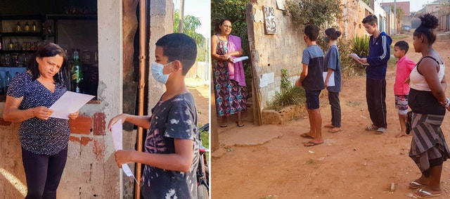 two images are shown of the youth visiting people's homes to raise awareness about the environment and are shown with multiple pieces of paper in hand