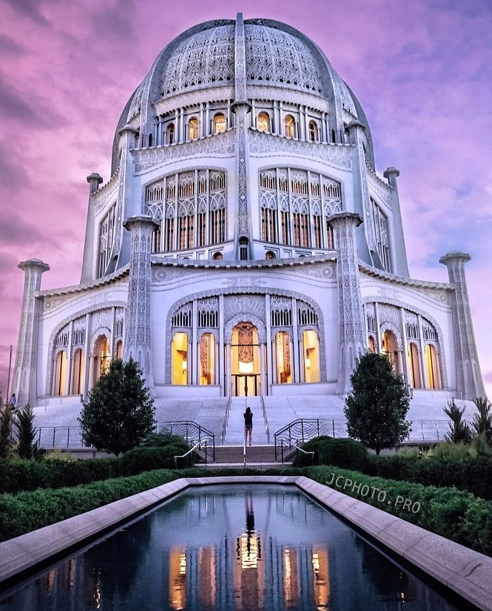 Sunset at Baha'i House of Worship in Chicago