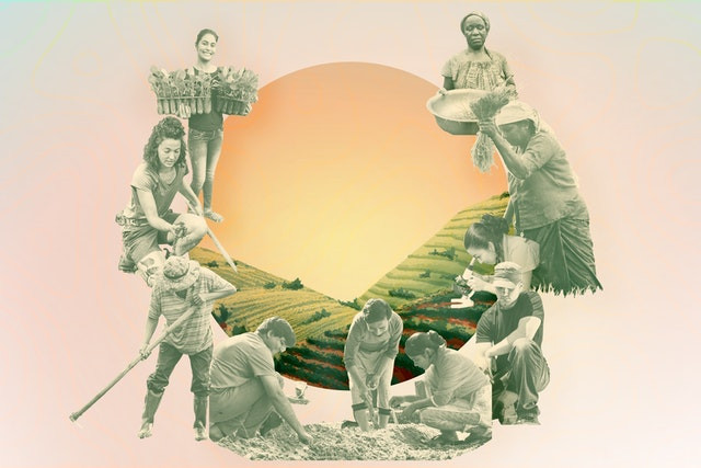 multiple people are shown gardening, or otherwise involved in some form of agriculture, and are shown around a circle with an image of hills with plants and a sunrise as the sky