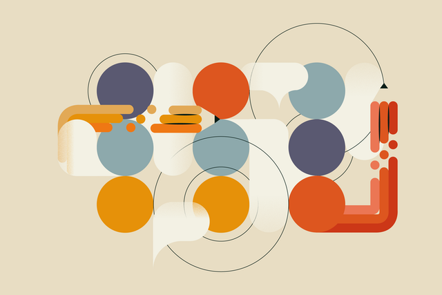 an image of circles and other strange shapes are shown in different colors-mainly blue, red and orange, against a cream background