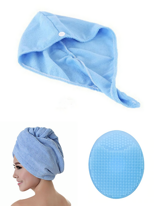 Microfiber Hair Towel & Silicone Face Washing Brush