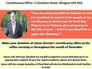 James Dornan MSP Christmas Toy Collection and Coffee Morning