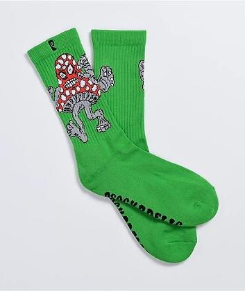 Psockadelic Mushroom Monster Green Crew Socks