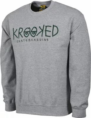 Krooked - Krooked Eyes Heather Grey Crew Neck Sweater