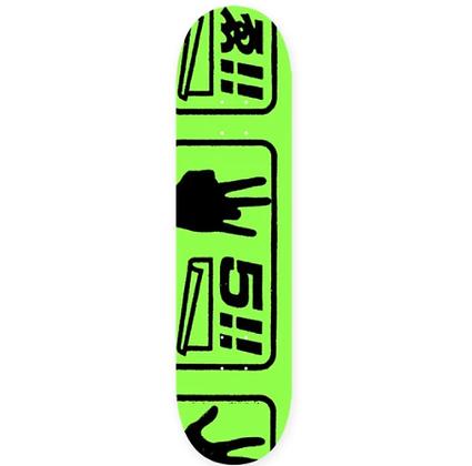 EVISEN SKATEBOARDS LAST 5 GREEN SKATEBOARD DECK