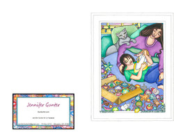 Mom and Daughter with Christmas Ornaments_GreetingCard