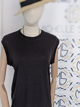 Classic TENCEL™ Luxury Sleeveless T-Shirt front view colour black