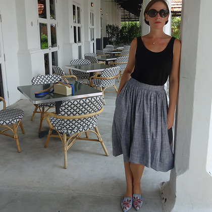 Dragon Rose Midi-Length Skirt in Japanese Linen