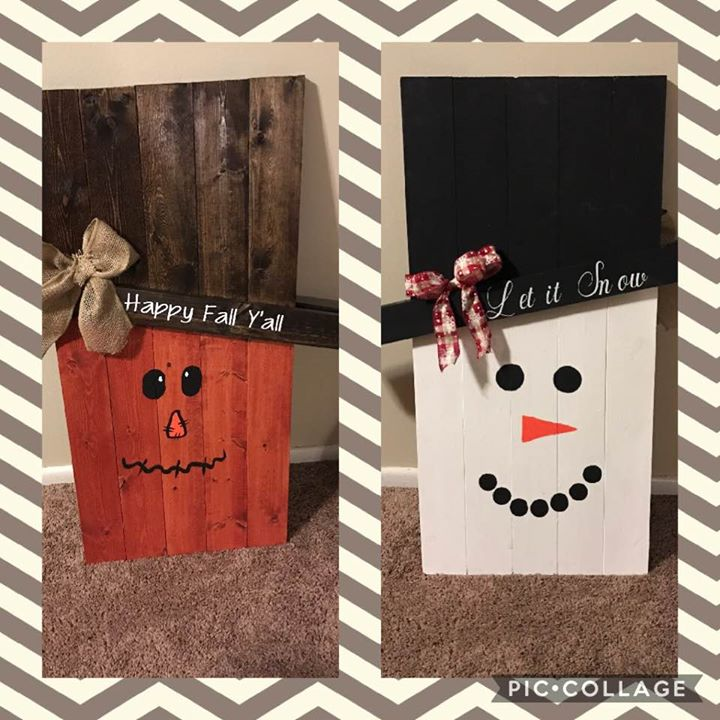 Scarecrow/Snowman Reversible Sign