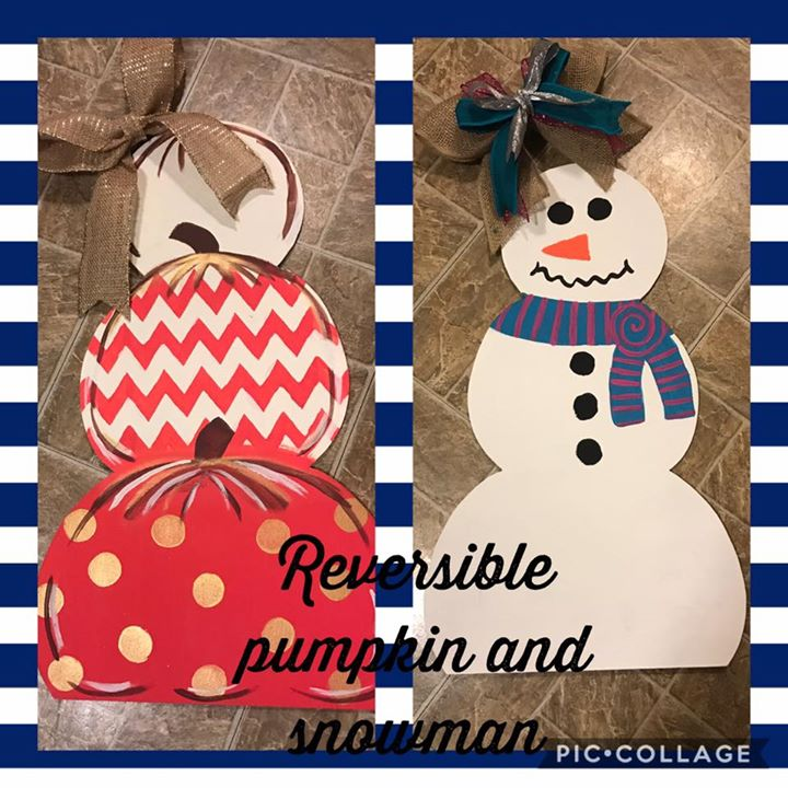 Reversible Pumpkins/Snowman Door