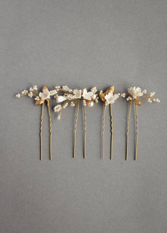 MEADOW   GOLD FLORAL HAIR PINS