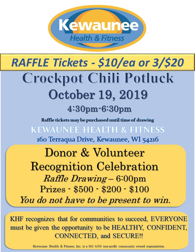 Hungry?  Chili Potluck on Saturday the 19th.  And try your luck with a raffle that benefits KHF.