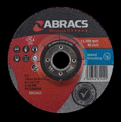 ABRACS 125mm x 6mm x 22mm Phoenix Metal Grind Discs