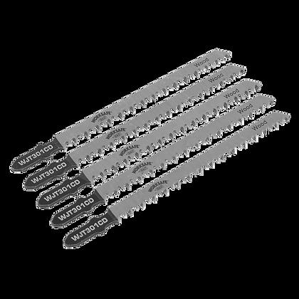 Sealey Jigsaw Blade Wood & Plastics 90mm 8tpi - Pack of 5