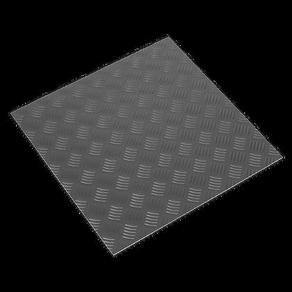Vinyl Floor Tile with Peel & Stick Backing - Silver Treadplate Pack of 16