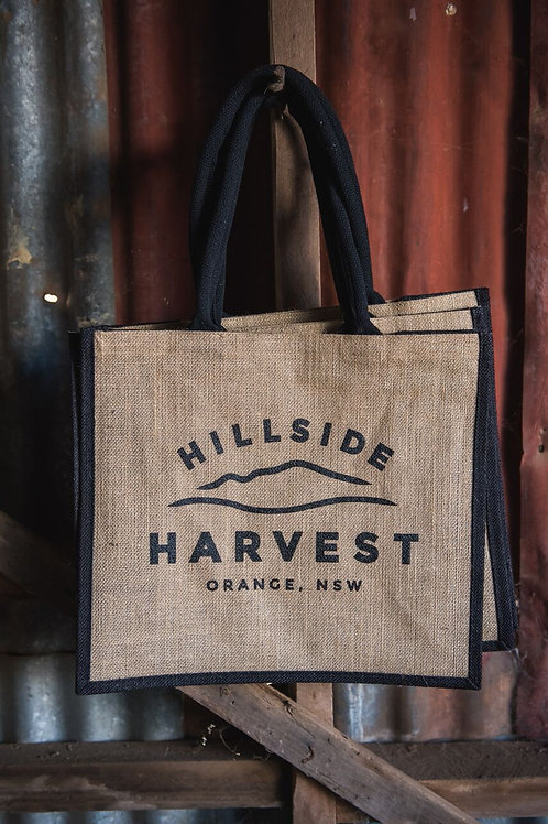 Hillside Harvest jute bag