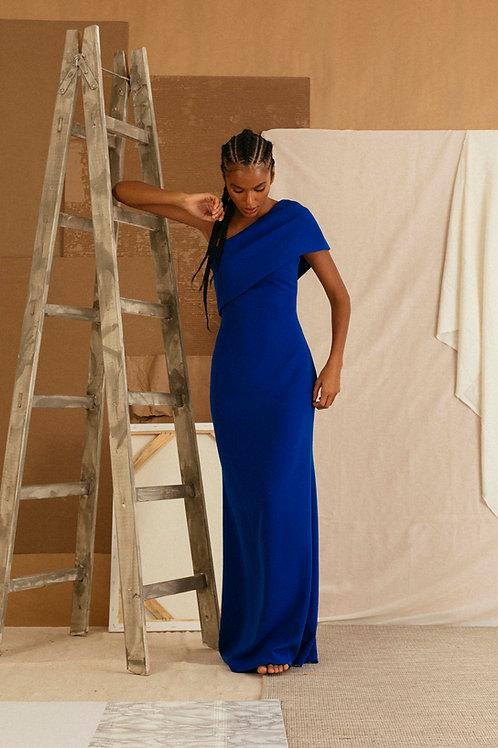 vestido ombro azul
