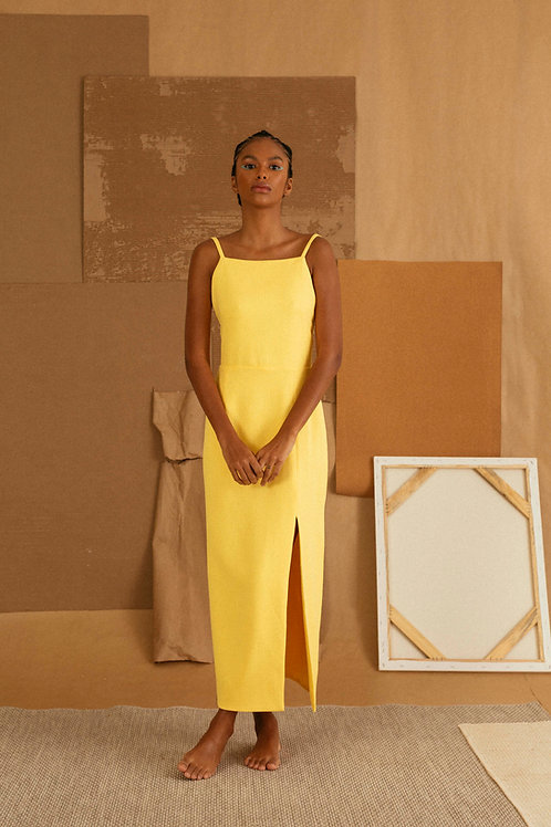 vestido frente unica amarelo