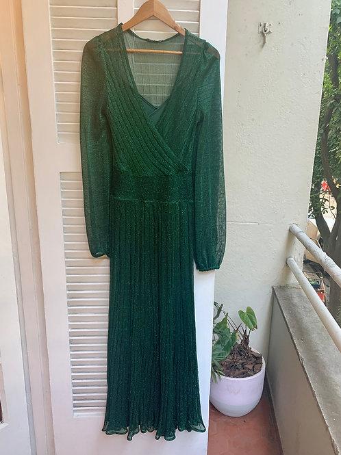 vestido tricot lurex manga longa