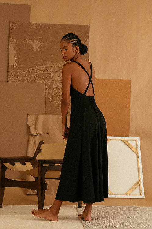 vestido transpasse midi preto