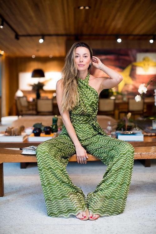 macacão amarrações tricot lurex verde