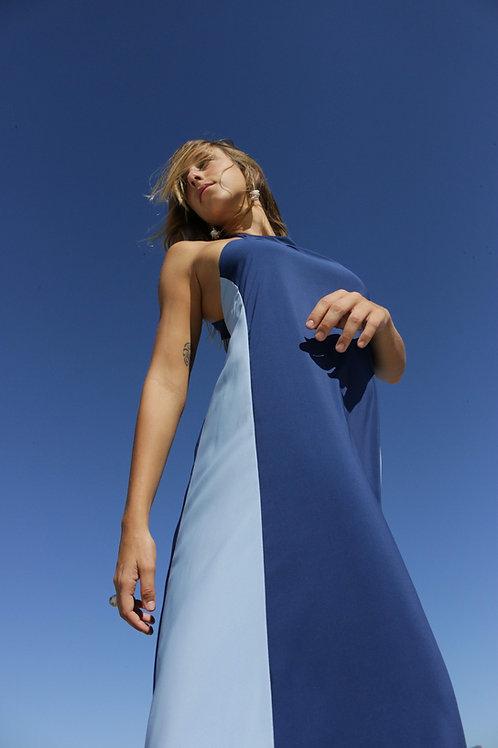 vestido longo gola marinho+sky
