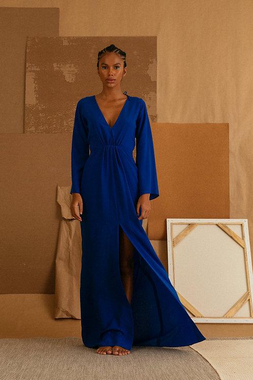 vestido longo drapeado azul