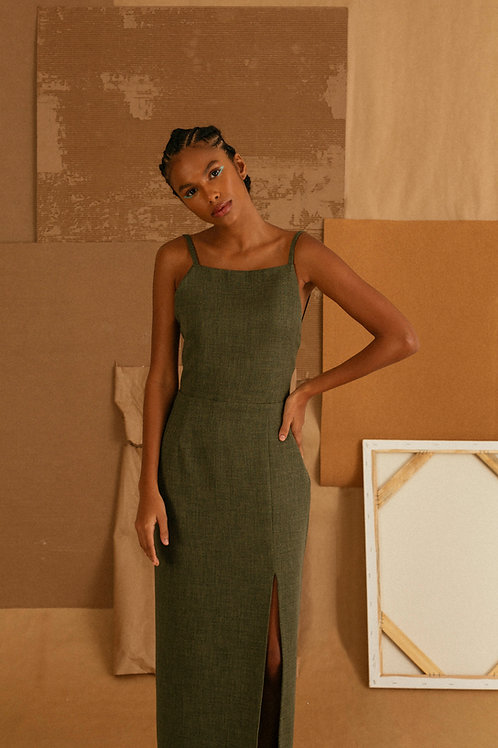 vestido frente unica verde