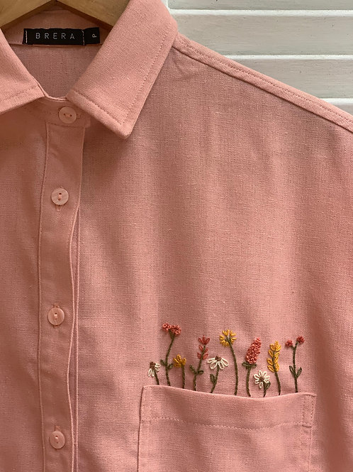 camisa botões bordada