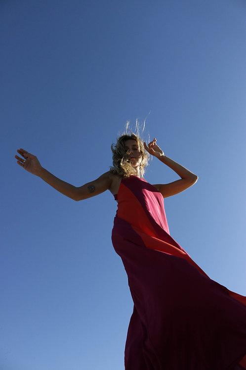 vestido longo gola cereja+pitanga