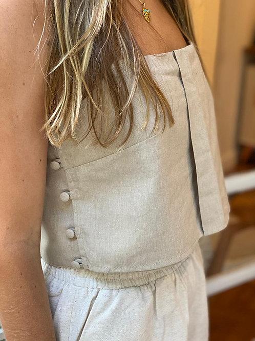 blusa prega botões