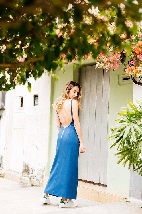 vestido frente unica azul
