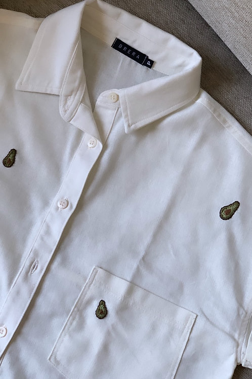 camisa botões bordada avocado