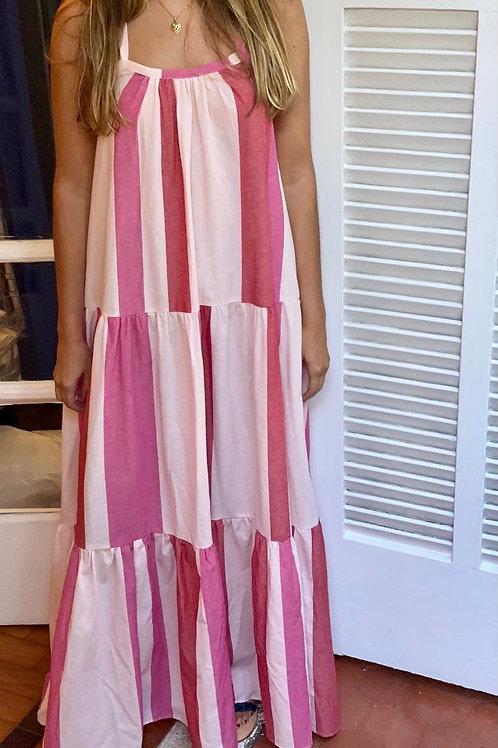 vestido amplo listras