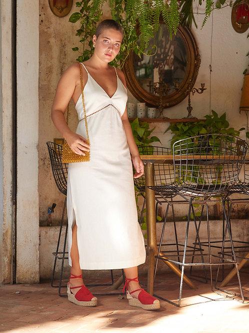 vestido entremeio linho off white